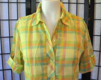 Vintage 1960s Plaid Dress Country Miss Summer Spring Frock Yellow Green Orange 34 35 Sheer Shirt Dress Shift S M Indie Schoolgirl