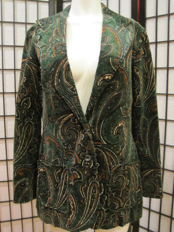 Mod Vintage Paisley Blazer Jacket Green Brown White California Girl 1960s 1970s Unisex
