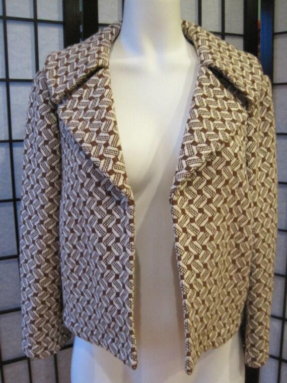 Vintage Dana Buchman Short Cropped Blazer Bolero Jacket 10 Copper Brown Beige Spring Autumn