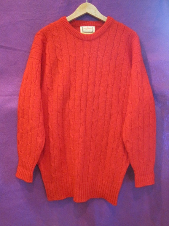 Vintage 1960s Sweater Shetland Wool Red Crew Neck Alan Paine Made in England Cable Stitch Unisex
