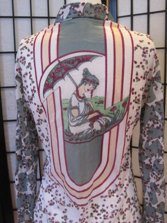 Mod Vintage 1970s Blouse Shirt Top Woman with Umbrella Tiny Cherry Red Flowers White Gray Grey Green Toga