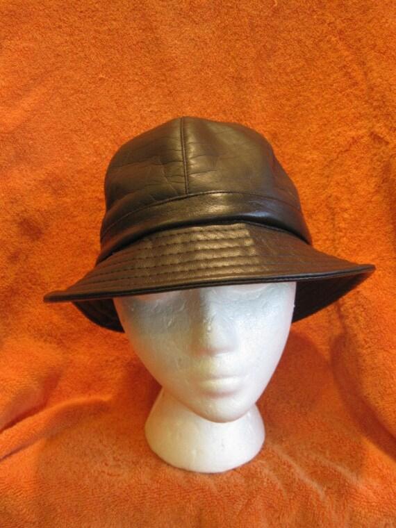 Vintage Mod 1970s Brown Faux Leather Hat Fedora Unisex Mens Womens Rain Cap