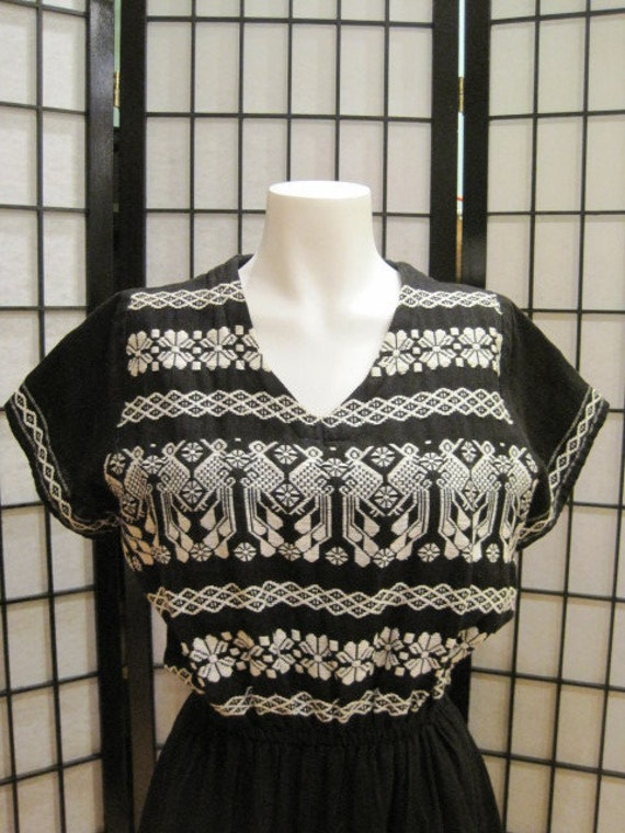 Vintage 1970s Ethnic Dress Boho Style Black White Woven Embroidery Possibly Mexican Latin South American