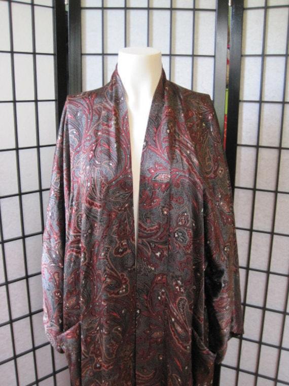 Vintage Countess Mara Silk Robe Bathrobe Kimono Style Paisley Mens Womens Bathrobe Extra Large Black Dark Red White Gray Unisex