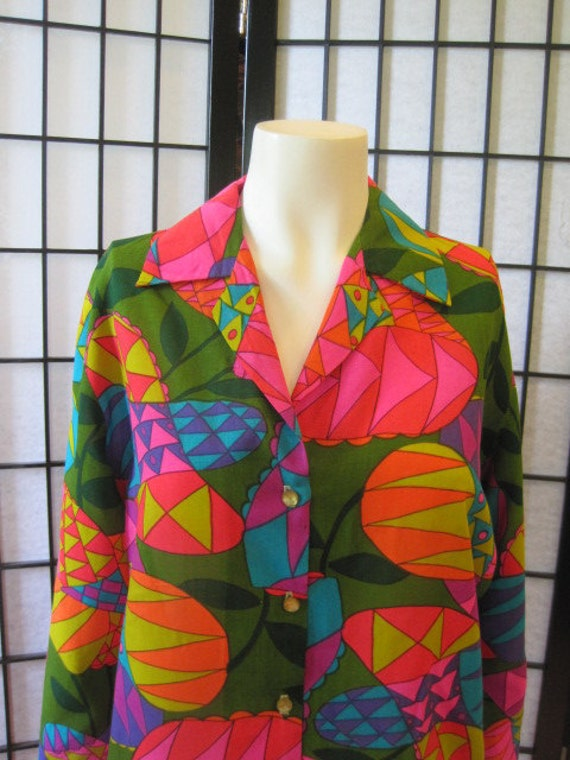 Vintage 1960s Blouse Shirt Top Abstract Floral Pattern Bold Colors Green Red Orange Pink Purple Turqouise Ochre Magenta Large