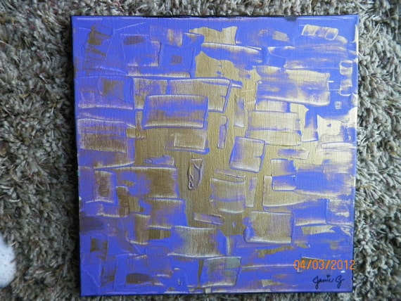 Original Purple and Gold Squares Modern Abstract Art By Jamie Zimprich