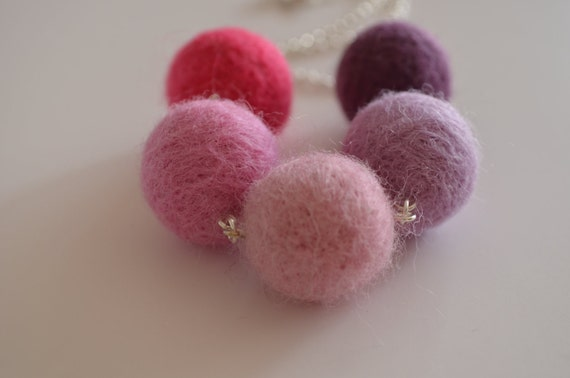 Felted Pom-pom Necklace Pink and Purple