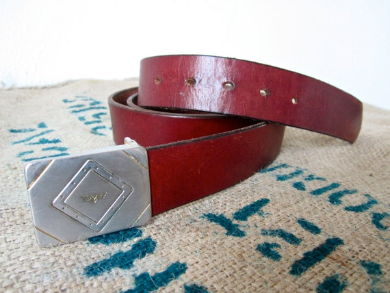 Vintage Oxblood Leather Belt and Wing Brass Buckle