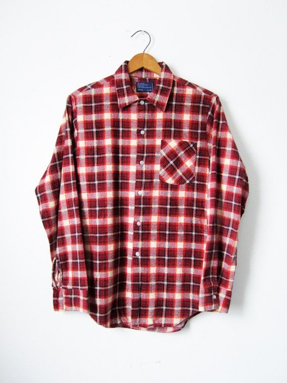 Vintage Flannel Shirt 80s Red Plaid JCPenney - Mens Small