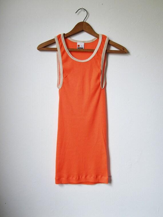 Vintage Fluorescent Orange Tank Top Undershirt Wife Beater - Small / Medium