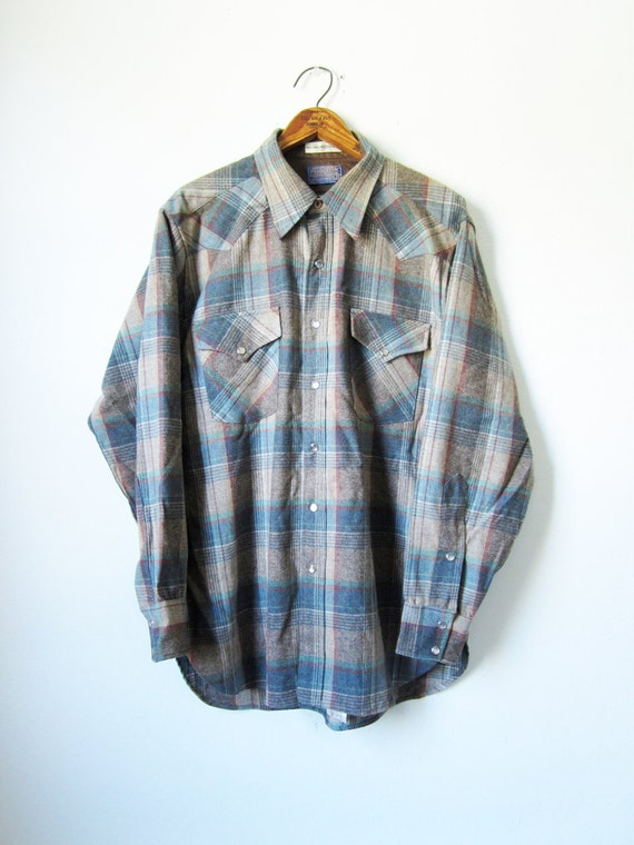Vintage Pendleton Wool Shirt Western Pearl Snap - Mens Large