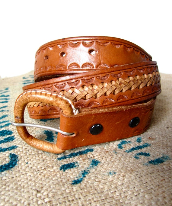 Vintage Hand Tooled Leather Belt Honey Brown Laced Stamped Mexico 26 - 30 Waist