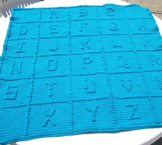 MADE TO ORDER Baby Alphabet Blanket Your Choice Of Color
