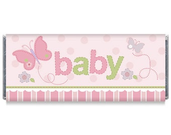 Set of 12 - Pink Baby Girl Baby Shower Candy Bar Wrappers - Personalized Girl Baby Shower Favors