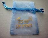 Blue Organza Bag - Baby Shower Boy in Hebrew - Add On for Hamsa Favor