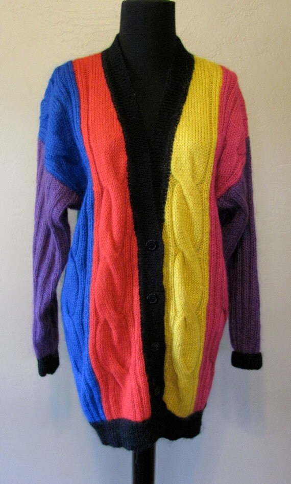 1980's Primary Color Block Oversized Slouchy Cardigan Cable Knit Sweater - Size Medium - Together Brand