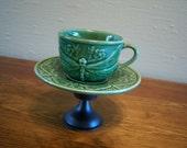 Vintage Inspired Green Dragonfly Teacup and Saucer Pedestal Set