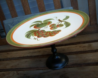 Vintage Stangl Orchard Song Cake Stand