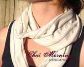 Cotton Infinity Scarf- White and Gray Striped