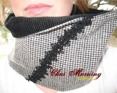 Cowl Neckwarmer Circle Scarf- Reversible Black and White Hounds Tooth Wool and Black Corduroy