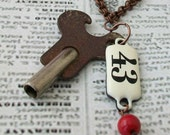 No. 43 Antique Key Necklace - Antique Vintage Brass Key, Metal Tag, Red Glass Bead, Copper Chain