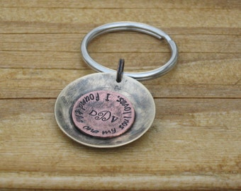 """Personalized Key Chain brass and copper keychain with quote 'I found the one my soul loves"""" and custom monogram"""