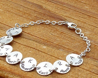 9 charms Grandmas Bracelet Personalized Sterling silver perfect for Great Grandma too