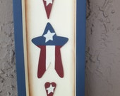 Hand-painted rustic patriotic stars and hearts