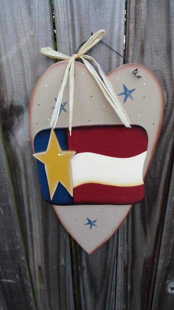 Items Similar To Primitive Americana Patriotic Heart Wall