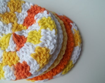 5 Round Cotton Crochet Face Wash Cloths - Sunshine Bright