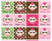 Sock Monkey Girl ThAnK YoU  Digital  Cupcake Toppers N Tags   2 Inch Square TAG  PRINTABLE