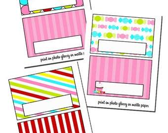 Candy Shop Digital Bag Toppers- Sandwich Size bags - Instant Download