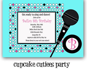 Rock And  Dance Pop Star  Girl  Digital Custom Invitation Card Printable BLUE