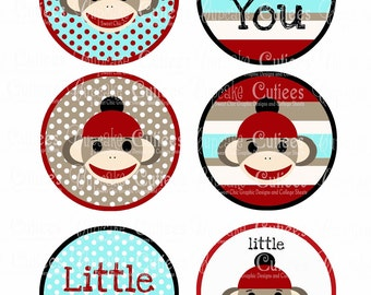 Boys Sock Monkey  Mod Bright Digital Large ROUND Tags N Toppers Instant Download