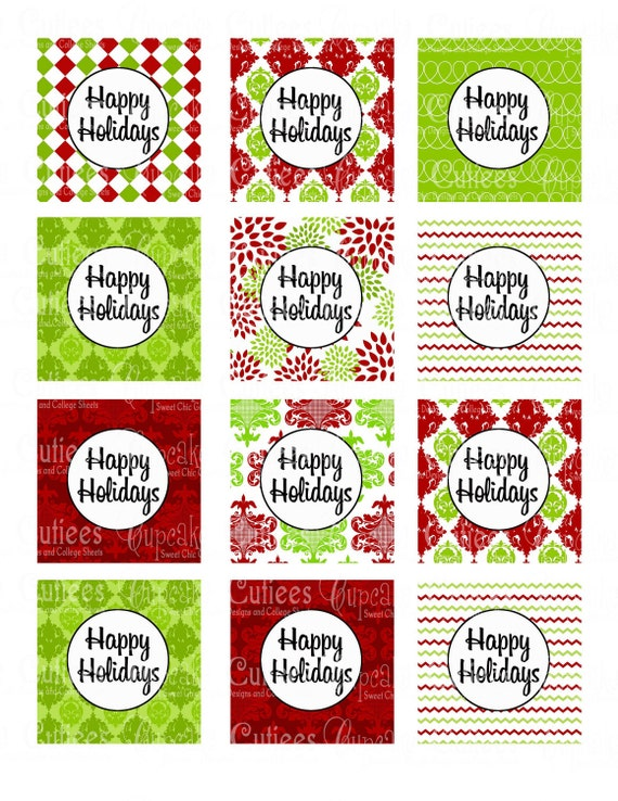 Christmas Party Damask Happy Holidays by CupcakeCutieesParty