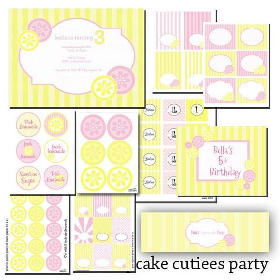 Pink Lemonade Digital Party Pack set  PRINTABLE