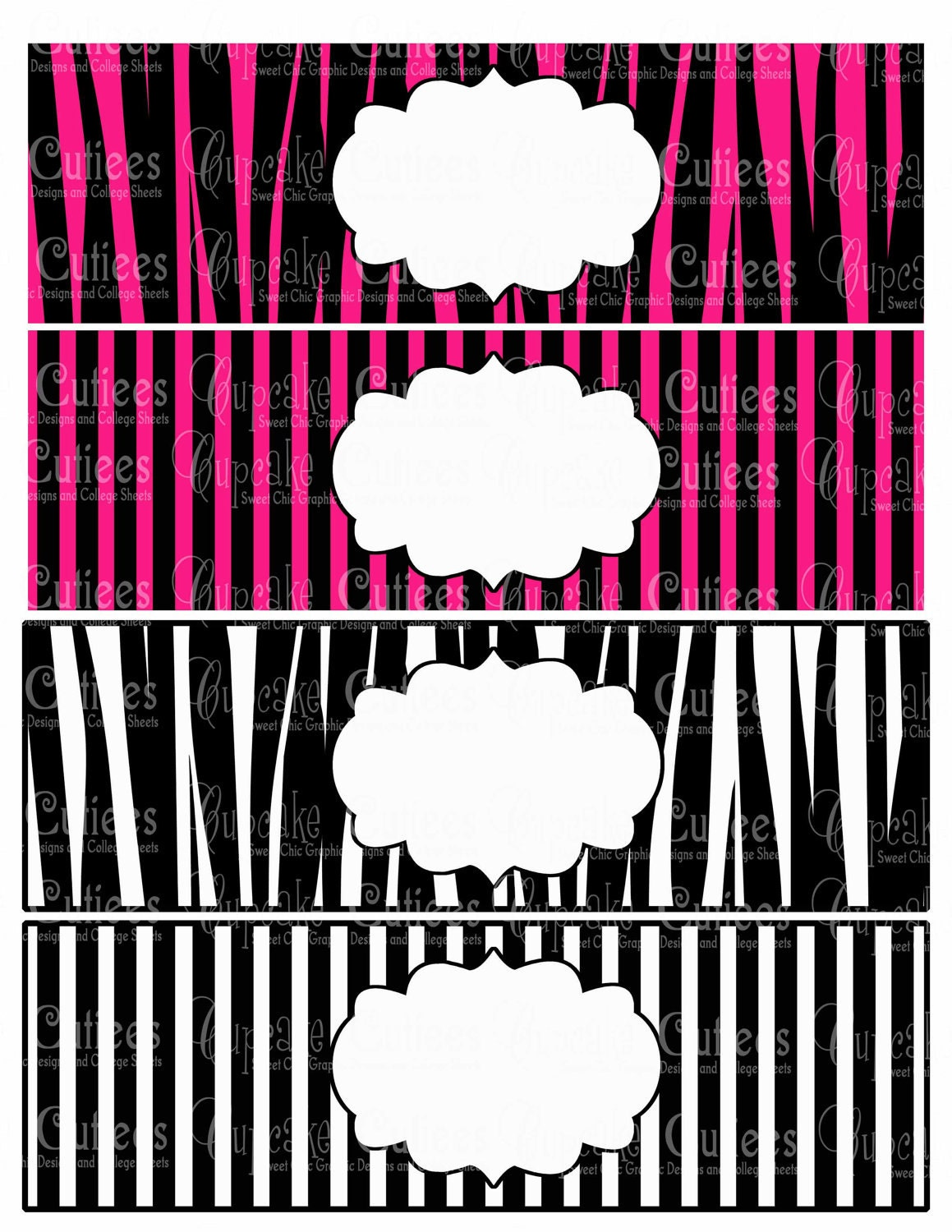 Zebra Print PINK Digital Water Bottle by CupcakeCutieesParty