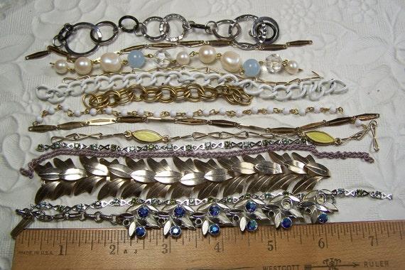 "14 Pc lot of salvaged chain pieces 6-7"" long / destash diy supplies"