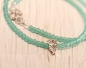 Turquoise Small Glass Bead Necklace . Owl bead . Toggle clasp . Spring . Mint . Teal