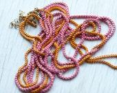 Pink & Orange Chain necklaces . Spring colors . Energetic . Retro . 80's