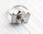 White Camera Ring . Enameled . Adjustable . Adorable. Christmas present . Photographer
