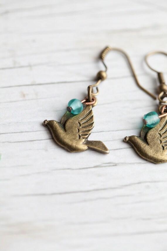 Bird Earrings . Antique brass . Mint bead . Peace doves . Spring