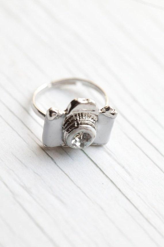 White Camera Ring . Enameled . Adjustable . Adorable