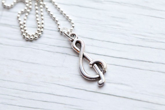 Clef Necklace . Music . Silver color . Ball chain . Cute . Mother's day