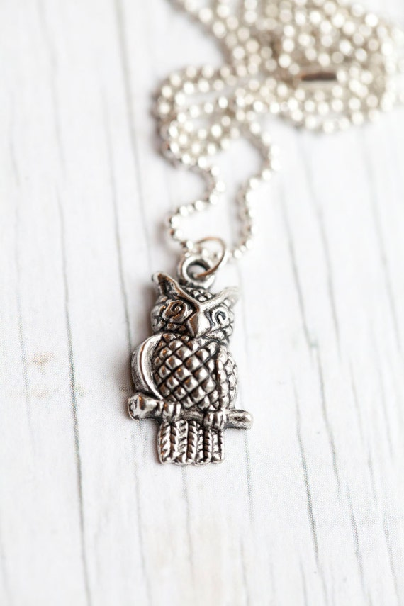 Owl Pendant . Ball chain. Small . Cute . Gift for her . Spring . Mother's day