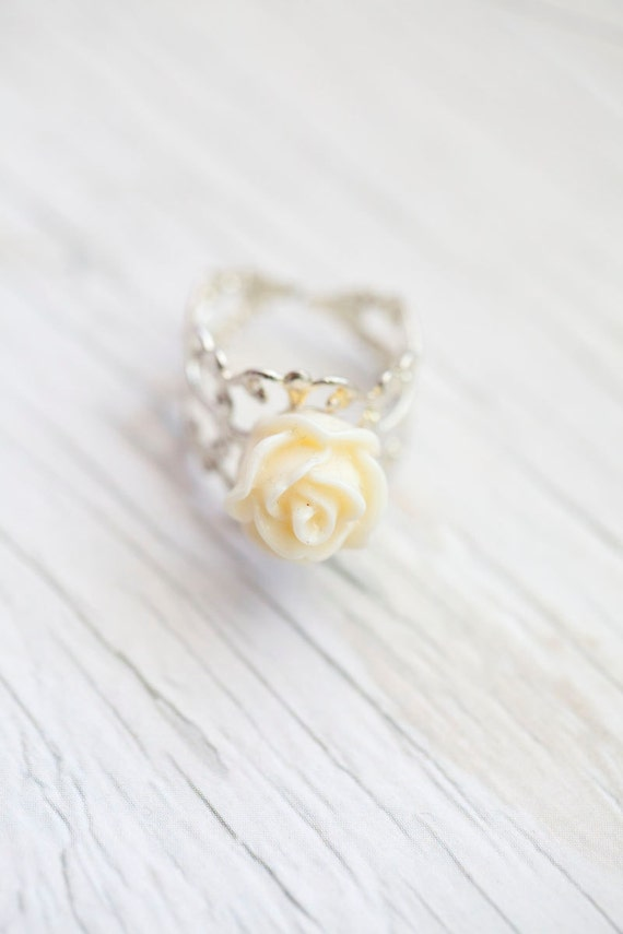 Cream Rose Flower Ring . Adjustable . Romantic . Statement ring . only 1 left