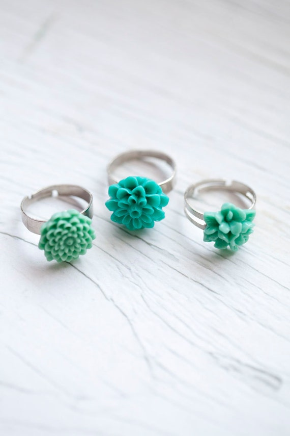 Mint Flower Ring . Adjustable . Romantic . Summer . Bridal . Choose one