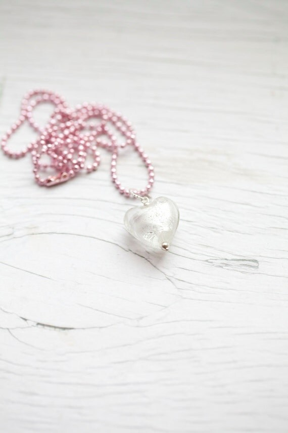 White Glass Heart in Pink Ball Chain. Summer. Loved one. Bridal .