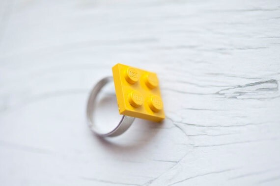 Yellow Lego Ring . Adjustable . Recycled