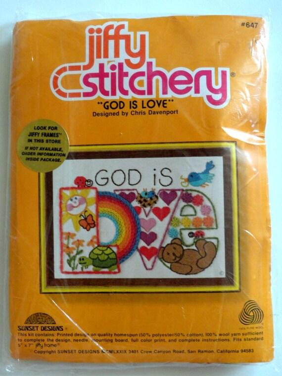Sunset Jiffy Crewel Embroidery God Is Love Kit No 647
